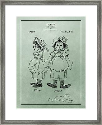 Green Raggedy Ann Patent Framed Print by Dan Sproul