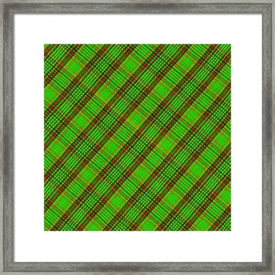 Green Red And Black Diagonal Plaid Cloth Background Framed Print by Keith Webber Jr