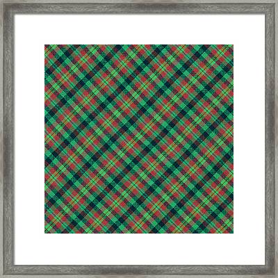 Green Red And Black Diagonal Plaid Textile Background Framed Print by Keith Webber Jr