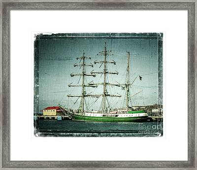 Green Sail Framed Print by Perry Webster