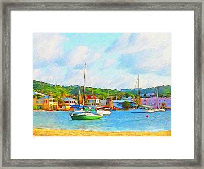 Green Sailboat On Mooring - Horizontal 1 Framed Print