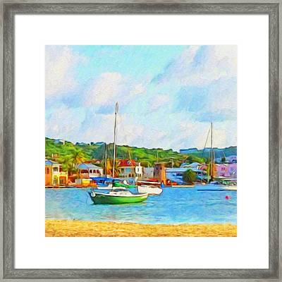 Green Sailboat On Mooring - Square Framed Print