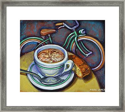Framed Print featuring the painting Green Schwinn Bicycle With Cappuccino And Biscotti. by Mark Howard Jones