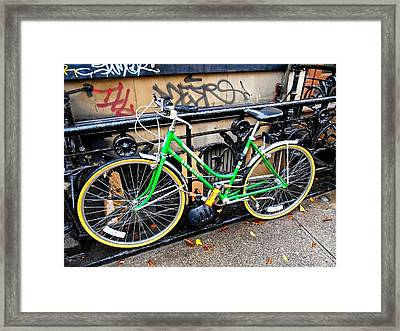 Green Schwinn Bike  Nyc Framed Print