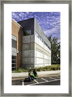 Green Scooter In Front Of Steinbrenner Band Hall Framed Print by Lynn Palmer