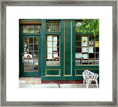 Framed Print featuring the photograph Green Shop Door by Sally Simon