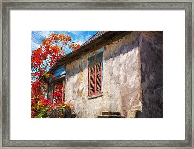 Green Shutters Pink Stucco Wall St Augustine Painted Framed Print by Rich Franco