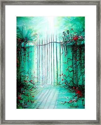 Green Skeleton Gate Framed Print