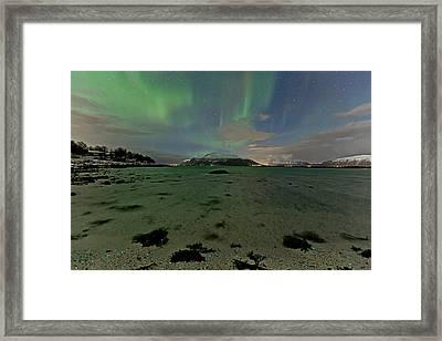 Green Sky Over The Beach Framed Print by Frank Olsen