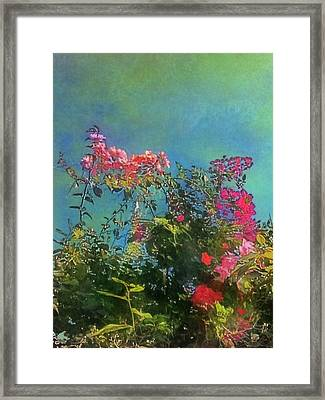 Green Sky With Pink Bougainvillea - Vertical Framed Print
