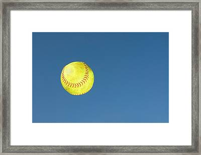 Green Softball Framed Print