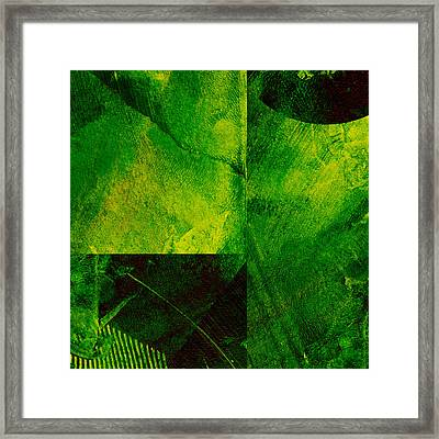 Green Square Abstract Framed Print by Ann Powell
