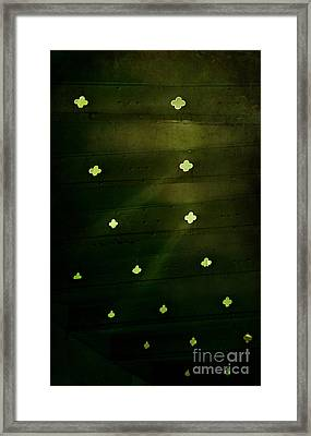 Green Stairs With Beams Of Light Framed Print
