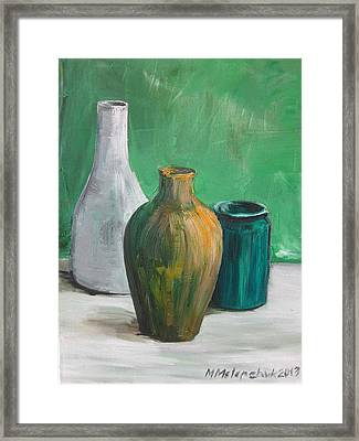 Green Still Life 2013 Framed Print by Maria Melenchuk