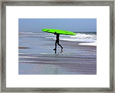 Green Surfboard Framed Print
