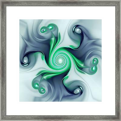 Green Swirls Framed Print by Anastasiya Malakhova
