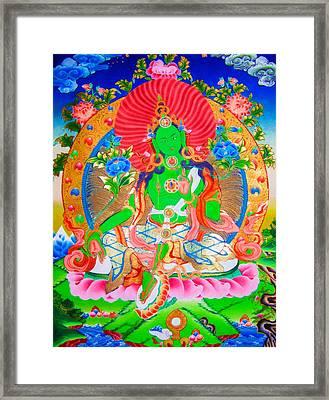 Green Tara 11 Framed Print by Lanjee Chee