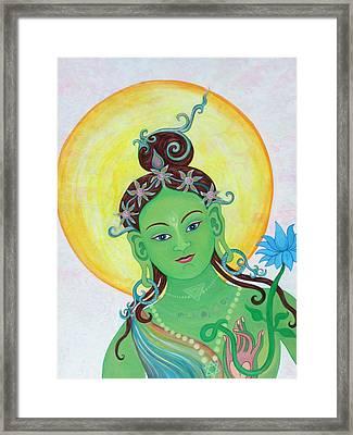 Green Tara Framed Print by Sarah Grubb