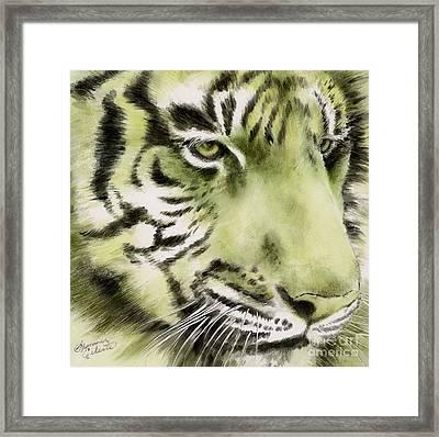 Green Tiger Framed Print by Summer Celeste