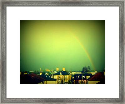 Green Tinted Sky With Rainbow Framed Print