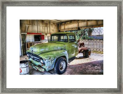 Green Tow Mater Framed Print by Eddie Yerkish