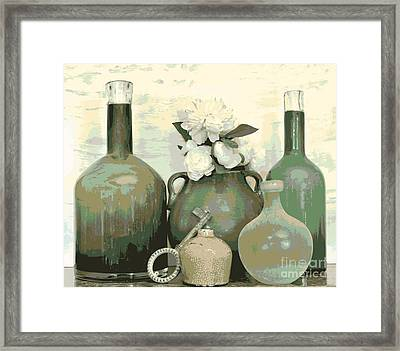 Green Vases Still Life Framed Print