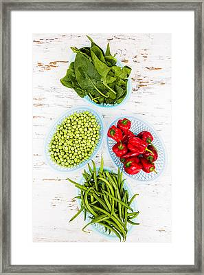 Green Vegetables And Red Chili Framed Print