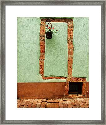 Green Wall And Hanging Basket In Alsace France Framed Print