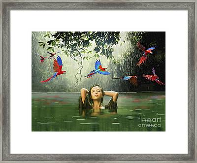 Green Water Red Sky Framed Print