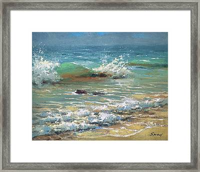 Green Wave Framed Print by Dmitry Spiros