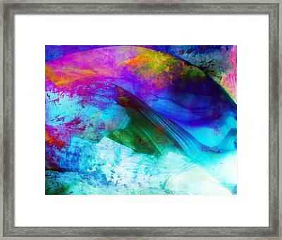 Framed Print featuring the painting Green Wave - Vibrant Artwork by Lilia D