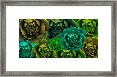 Green With Envy Rose Flower Abstract Framed Print