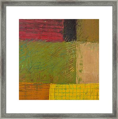 Green With Yellow Boxes 2.0 Framed Print by Michelle Calkins