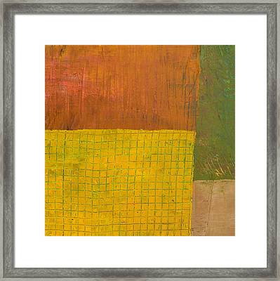 Green With Yellow Boxes Framed Print by Michelle Calkins