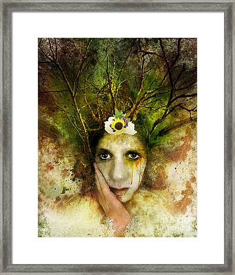 Green Woman Framed Print by Michael Volpicelli