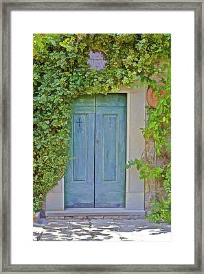 Green Wood Door Of Tuscany Framed Print