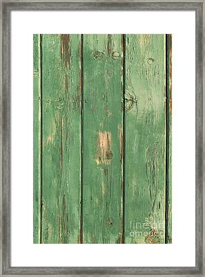 Green Wood Texture Framed Print