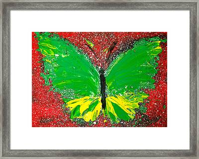 Green Yellow Butterfly With Red Background Framed Print by Patricia Awapara