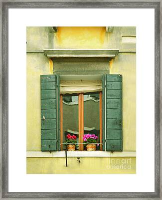 Green Yellow Venice Series Shutters Framed Print