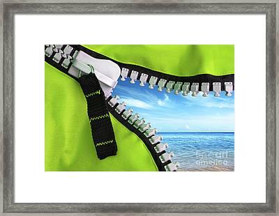 Green Zipper Framed Print by Carlos Caetano