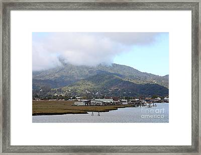 Greenbrae California Boathouses At The Base Of Mount Tamalpais 5d293506 Framed Print