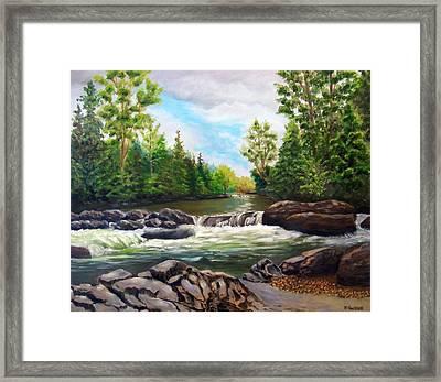 Greenbrier Cascades Framed Print by Joan Swanson