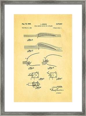 Greene Flight Stall Warning Device Patent Art 1949 Framed Print by Ian Monk