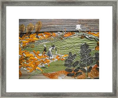 Greenery With Orange Field Framed Print