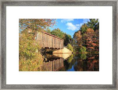 Greenfield New Hampshire Covered Bridge And Contoocook River Framed Print by John Burk