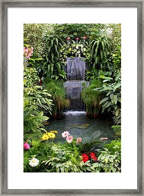 Greenhouse Garden Waterfall Framed Print by Carol Groenen