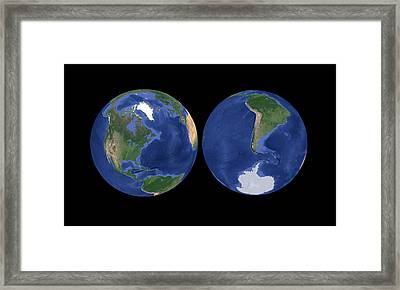 Greenland And Antarctic Ice Sheets Framed Print