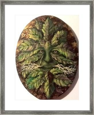 Framed Print featuring the painting Greenman by Megan Walsh