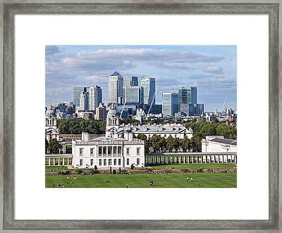 Greenwich And Canary Wharf Framed Print by Gill Billington
