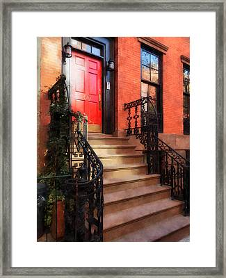 Greenwich Village Brownstone With Red Door Framed Print